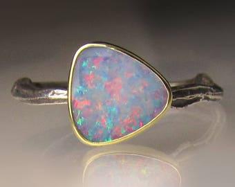 Boulder Opal Ring, Boulder Opal Twig Ring, Opal Ring, Sterling Silver and 18k Gold Australian Opal Ring