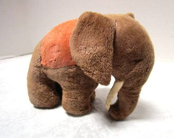 Vintage Elephant Plush Toy, Well Loved, Tusks, Orange Blanket, Circus, Republican, Stuffed Animal, Storybook Character, Lovey, Pachaderm
