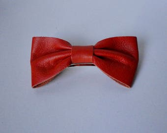 Vintage Leather Bow and Metal Hair Barrette. Made in FRANCE