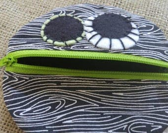 Monster Mouth Coin Pouch in Black and White Woodgrain and Lime
