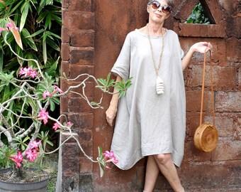 LINEN, Alit Oversized Dress, Resort Wear, Bohemian, Island Style, Beach Coverup, Plus Size, Black, White, Gray, Natural, Gold