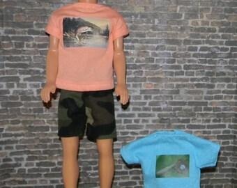 K3PC-37) Ken doll clothes , 2 printed T-Shirts and 1 shorts