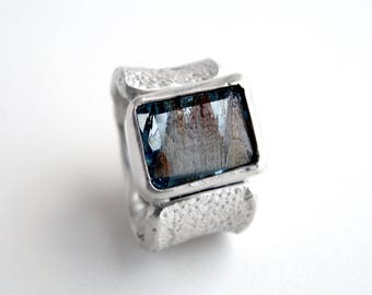 Topaz Ring Sterling Silver Orange Peel Texture Ring With Natural Blue Landscape Topaz Solitaire Jewelry