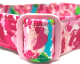SALE- 50% off Lilly Pulitzer Inspired Dog Collar for Girl Pink Roses