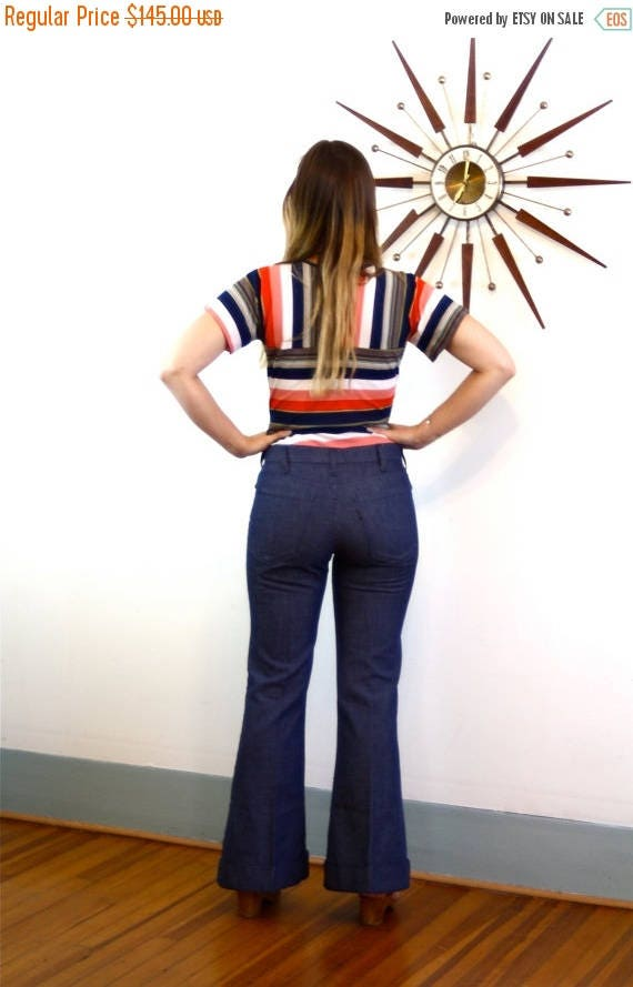 SALE 50% OFF True vintage 70s Big E Levi's Bell Bottom Blue Jean Pants Sta-Prest Silver Tab Pleat Wide Leg Cuffed High Waisted Trousers 1970