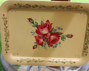 Vintage Tole Painted Roses Flowers Metal Folding TV Lap Bed Tray Shabby Decor