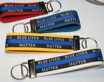 Blue Lives Matter Keychain Wristlet/Keyfob