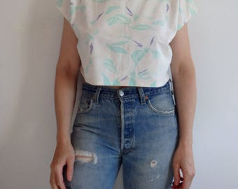 Tropical Print Top Vintage 1980s Crop Top