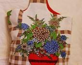 Tote Bag Medium Handmade Upcycled Vintage Tablecloth Flower Vase