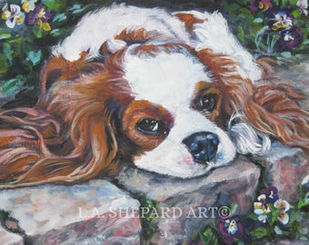 CAVALIER KING CHARLES spaniel dog portrait art canvas print of LAShepard painting 8x10""