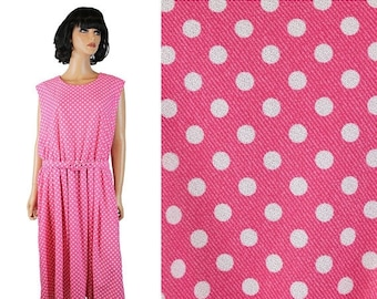 ON SALE 80s Secretary Dress 26 3X Vintage Pink White Polka Dot Rockabilly Costume Plus Free Us Shipping