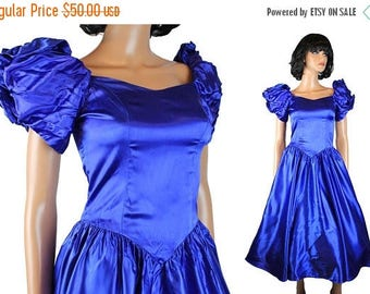 ON SALE 80s Prom Dress XS Vintage Royal Blue Satin Short Puff Sleeve Flared Skirt Gown Free Us Shipping