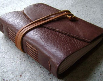 """Handmade rustic leather journal, 4"""" x 6"""", travel journal, leather sketchbook (2622)"""