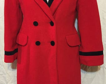 Vintage Rothschild Red Coat Girl's Dress Coat with Black Trim Coat USA Size 10