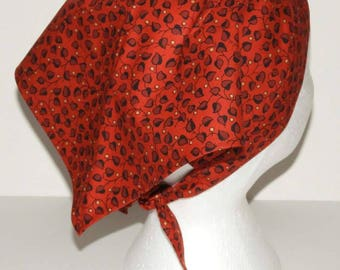 Kerchief, Adult Triangle Head Scarf, Cotton Bandana, Red with Black Leaf