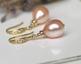 Teardrop Pearl Earrings | Peach Pink Champagne Freshwater Pearls | CZ 14k Gold Vermeil Dangles | Birthday | Bridal | Gift | Ready to Ship