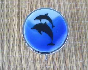 Dolphin Fused Glass Metal Pill Box Case Holder