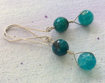FREE SHIPPING Long Sterling Silver Wire Wrapped Teal Blue Stone Dangle Earrings
