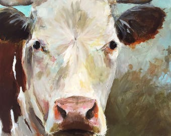 Cow Painting- Laurie Lou  - Paper Print of an Original Acrylic Painting by Cari Humphry