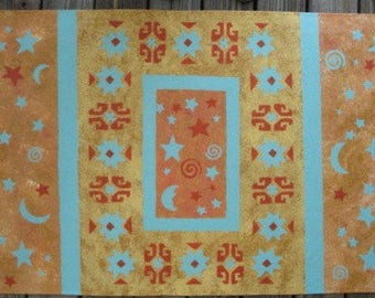 Floorcloth with Moroccan design and stars and moons
