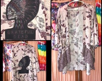RESERVED Gorgeous Grateful Dead Cover Up Roses XL Hippie Festival Kimono