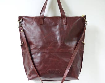 Stunning one-of-a-kind tumbled port Horween leather convertible bag