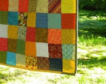 Patchwork Quilts, handmade cotton bedding, King Size--93X106--Warm Earthtone, tangerine, aqua, farmhouse style comforter, unique gift