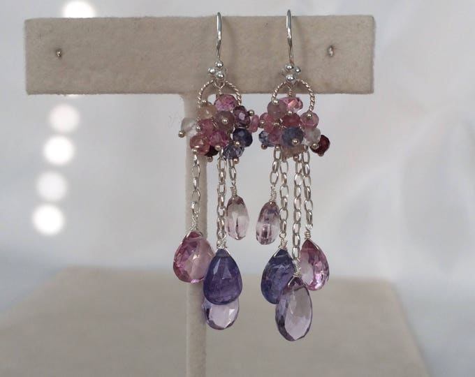 Gemstone Waterfall Earrings in Sterling Silver, Pink Amethyst, Mystic Pink Topaz, Tanzanite, Mystic Pink Quartz, Iolite, Sapphire