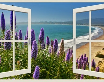 Wall mural window, self adhesive, window view-4 sizes available-Stinson Beach - free US shipping