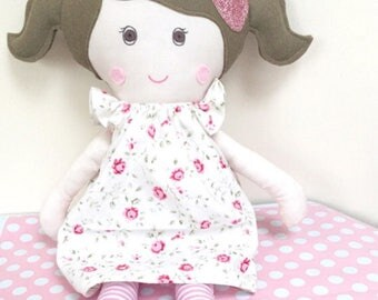 Rag doll Dolly Custom Handmade Doll with Floral flutter Dress CE marked Perfect for playtime, ragdoll, dolly, gift for a child, girl,play