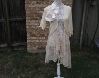Altered Women's Tan Crochet and Lace Tunic, Altered Couture, Magnolia Pearl Style, Shabby Chic,Medium,Romantic Top, Shrug Large Satin Flower