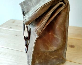 Field Tan Waxed Canvas + Coyote Brown Cordura Insulated Lunch Bag - READY TO SHIP
