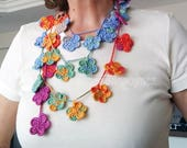 Multicolored Flower Wrap Scarf, Crochet Flower Lariat Scarf, Crocheted Necklace, Lariat Necklace, Scarf Necklace,Crochet Lariat Scarf