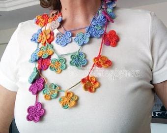 Multicolored Flower Wrap Scarf, Crochet Flower Lariat Scarf, Crocheted Necklace, Lariat Necklace, Scarf Necklace,Crochet Lariat Scarf