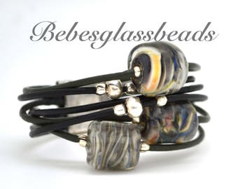 Bebe's Glass Boro Bead 5 strand Black and Green Women's Leather Bracelet  MagneticClasp Small #12