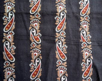 Antique 1800's Fabric - Red Paisley Stripe on Black - 24 x 40