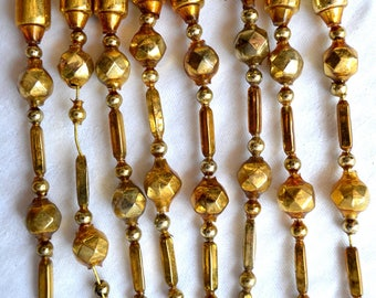 Vintage Mercury Glass Beads - Wired Gold Icicle Ornaments - 8
