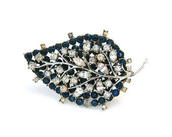 VENDOME Blue Rhinestone Brooch for Repair | Broken Leaf Pin | Vintage 1960s Coro Jewelry