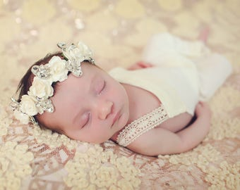 flower crown halo wreath headband with gold or silver plated crystal rhinestone brooches