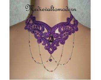 Choker in Purple Chain Sparkle Teardrop Lace Victorian Venise Necklace or Collar Wearable Art Runway