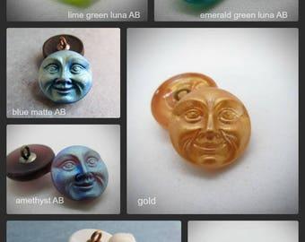 Your Choice of Moon Face Czech Button, 18mm Czech Glass Button, 18mm Button, Moon Button, Czech Glass Moon, Czech Buttons, Man in the moon
