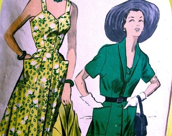 Sale:) RARE * 1950  Advance Pattern 5539 - FABULOUS  Summer Sun Dress with Bolero  Cropped Jacket for Day or Evening  - Bust 42