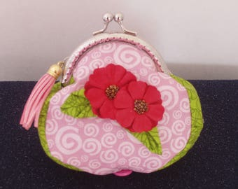Coin Purse, Pouch,Wallet,Pocketbook handbag,Handcrafted,quality cotton,silver frame, Lady Rose