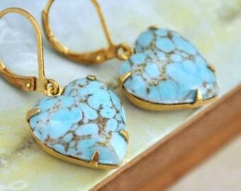 boho earrings, turquoise earrings, gold brass earrings, vintage jewel earrings, BLUE HEARTS. vintage glass Turquoise earring