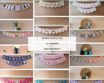 Baby Banner Sample Sale - Over 25 Banners - Photographer Photo Props - Baby and Maternity - Banner Prop Destash