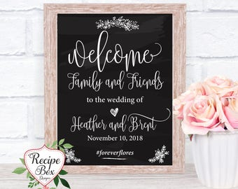 Welcome Wedding Sign Printable, Instant Download, Welcome Family and Friends, Blackboard Wedding Sign Instant Download Template, PDF, DIY