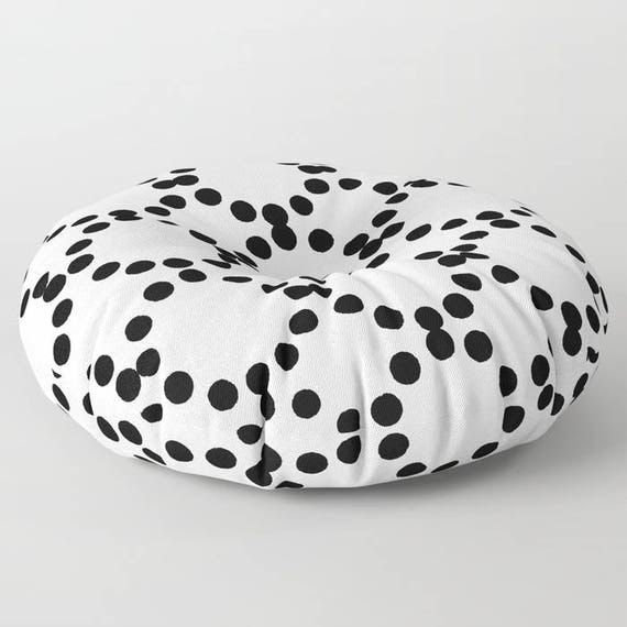 Black and white floor cushion - Round cushion - White Pillow - Round pillow - Geometric Floor pillow - 26 inch pillow - 30 inch pillow