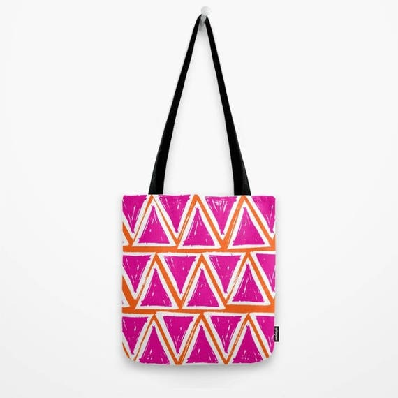 Tote bag Magenta tote bag Orange tote bag White geometric tote bag Triangle tote Canvas bag Shopping bag Pink tote bag Summer bag Pink