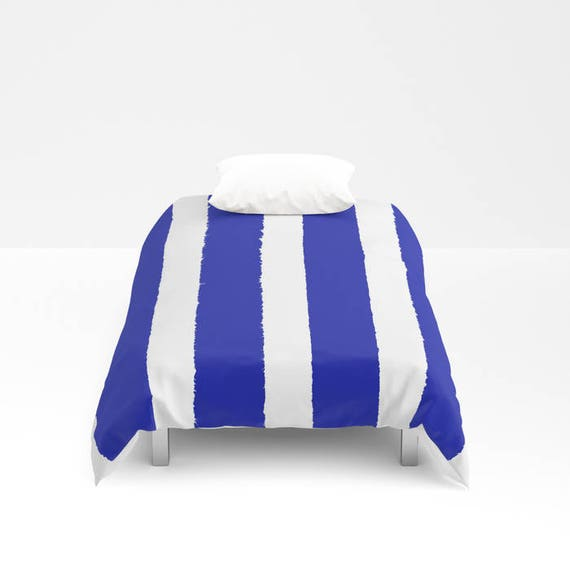 Azure Blue and White Stripe Duvet cover -  Duvet cover - Blue bedding - Twin XL duvet - queen duvet cover - king duvet cover - full duvet