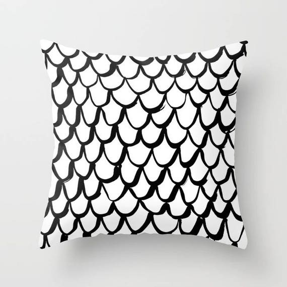 OUTDOOR Throw Pillow . Mermaid Outdoor Pillow . Black and White patio cushion . 16 18 20 inch . Mermaid Outside Pillow . Rectangle Pillow